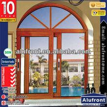 Aluminium Wood Clad Sliding Windows Design with Decorative Arches