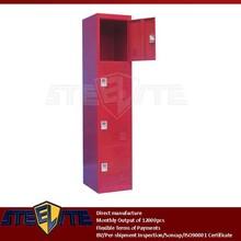 Rojo capas de la puerta delgado salón de armario para la pequeña / antique vertical roja estrecha 4 nivel de hierro vestuario de gimnasio con cerraduras de leva