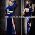 ثياب السهرة المخملية فستان طويل بأكمام طويلة وفتح الظهر الشق الجبهة مثير الأزرق الملكي الخرز مصمم الخصر فساتين رسمية