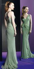 Sexy V-line Neckline Pleat and Hand Made Flower Chiffon Hunter Green Evening Dresses