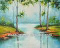 hecho a mano hermoso bosque y el río de pintura al óleo