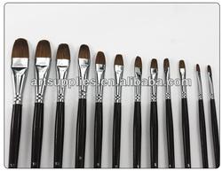 For drawing, 102 filbert head weasel hair black handle long handle paint brush