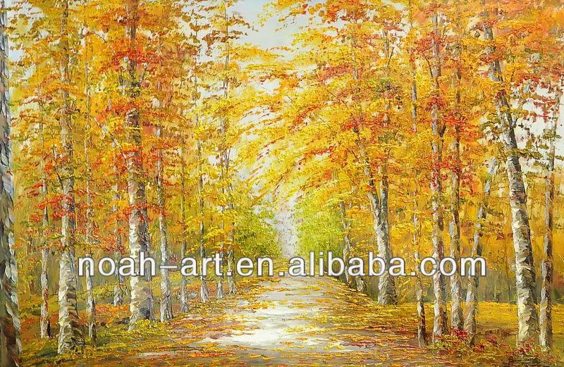 Paintings of Autumn Scenes Autumn Scene Birch Trees Oil