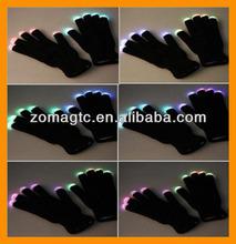 Color Changing LED Flashing Fingertip Gloves (Black)