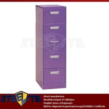 purple tall 5 drawer cabinet / vertical girls iron 5-tier tall slim chest of drawers / Diy five drawers metal file cabinet