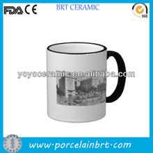 11oz white porcelain color rim mug with custom design for promotions