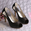 (12 Colors) Newest Ladies Wedding Sandals Black with Crystal
