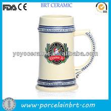 white porcelain light beer mug with custom design for promotions