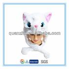 Plush animal head hat scarf glove 3 in 1 cat design