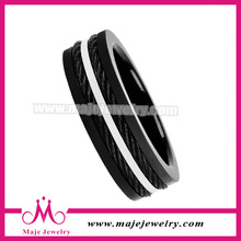 Inlay two metal rope charms plating black rings most welcome finger rings