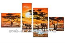 Group elephant wall art paintings by handmade