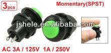 AC 125V/3A 250V/1A N/O SPST Momentary Green Push Button Switch (ON)/OFF3 Pcs AC 125V/3A 250V/1A N/O SPST Momentary Green Push Bu