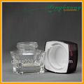 Transparente de vidrio de boca ancha tarro de crema con tapa roja