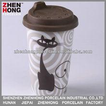 Grey cat designed Ceramic travel mug with lid