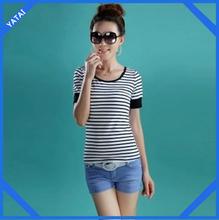 oem stripe black and white t-shirt for women