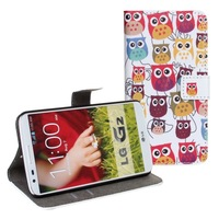 Lovely Cute owl Cartoon Stand Wallet Leather Case for LG Optimus G2 D801 D802 D803
