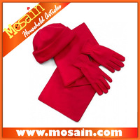 New Fashion Beautiful Soft Polar Fleece Red Gloves Hat and Scarf Set