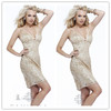LC0063 High Quality Modest Champagne Hot Sexy Short Tight Cocktail Party Dresses With Crystal Sequin Special Occasion Dress 2014