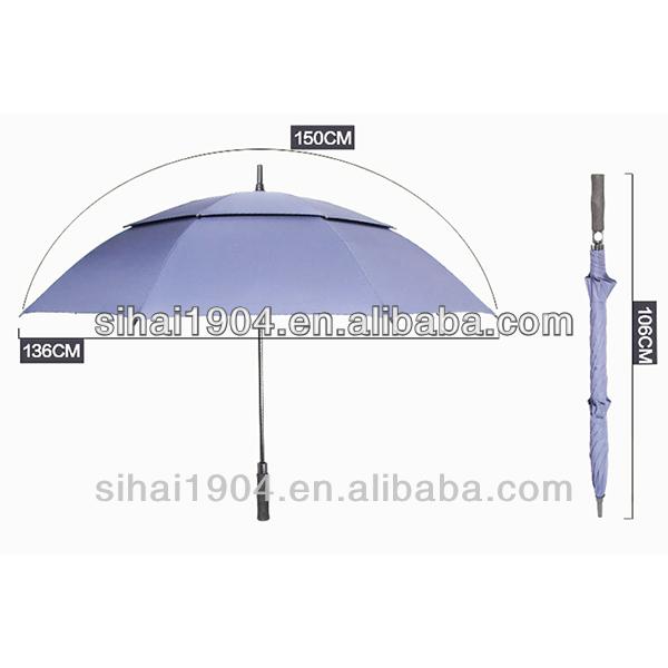 "30""*8 panels shenzhen auto open double canopy windproof golf umbrella"