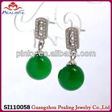 2014 fashion wholesale chrysoprase 925 sterling silver earring post