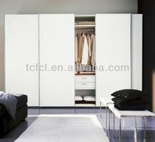 four doors sliding white wood wardrobe TC0801-32