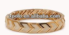wholesale fashional arrowhead direction white&gold striped elastic stretch bracelet