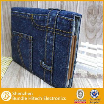 2014 Newest Jean design PU Cover cowboy jean flip case for ipad mini