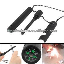Outdoor Survival Magnesium Flint Steel Fire Starter Kit with Compass,Black