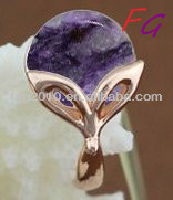 RI-US-0274 copper natural alexandrite rings fashion fox rings Natural Charoite ring, charoite