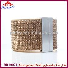 wheat color men's women's gift leather rhinestone cuff