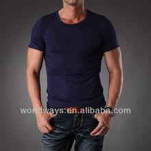 Plain dark blue quality mens modal spandex t shirt,bulk buy clothing
