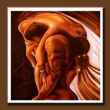 Handmade Figurative Oil Paintings Nude Naked Man and Woman Hug Paintings