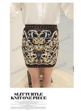 2013 New Fashion Women's Cotton Vintage Patten Print Mini Short Skirt Two Color SV001038