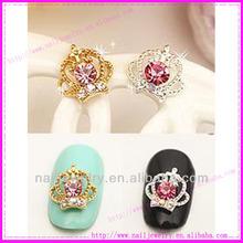 Newest pearl rhinestone 3d Crown nail art beauty Salon Accessories