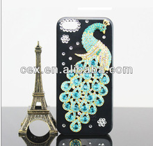 Wholesales Luxury 3D Pearl Bling Peacock Crystal Diamond Rhinestone Hard Case Cover fit For Apple iPhone 5 5s