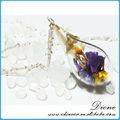 Gözyaşı damla şekli, 18*30mm, gümüş 0 şeklinde zincir, mor çiçekler, 2014 asılı toptan küçük kavanoz
