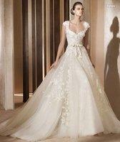 Ivory Cap Sleeve Tie Waist Bridal Gown
