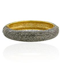 solida 14k oro massiccio giallo spianare set diamante gemco gioielli braccialetto handmade