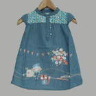 Girls Thin Denim Dress Baby Casual Dresses Wholesale Kid Embroidery Clothes AN03