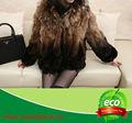 la venta de la parte superior de piel de mapache de invierno abrigo con cuello de piel con precio barato