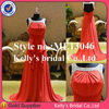 Classic style for ladies short sleeve heavily beaded bodice pleating red chiffon dresses for special occasions