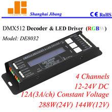 LCD DMX RGBW controller, DMX decoder and RGBW pwm driver, 4 channels/12-24V/12A/288W pn:DE8032