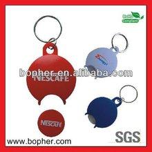 hot sale plastic euro coin holder keychain