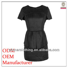 Custom factory garments products ladies fashion black simple designed sexy short mini night dr with short sleeves and round neck