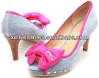 Fashion light blue ladies dress shoes jeans shoes