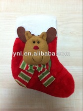 Plush Red/Brown Winter Reindeer/Deer X'mas Stocking For Christmas Party Accessories