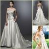 Hot Sale KW0048 Sweetheart Satin Pocket Long Trail Crystal Embellished Wedding Gowns