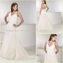 KW0065 V-neck Spaghetti Strap Sexy Lace Open Back Wedding Dresses