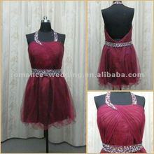 RE0037 Sparkly Halter Dark Red Mini Short Cocktail Dress