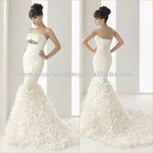 WD0040 Charming Chiffon Ruffle Strapless Mermaid Wedding Apparel